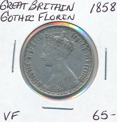 Great Britain Gothic Florin 1858   - Vf