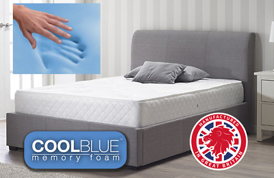 Cool Blue Touch Memory Foam Topped Sprung Mattress 3Ft 4Ft 4Ft6 Double 5Ft Uk