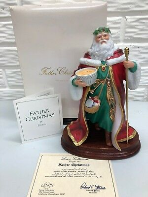 "1989 Lenox 9""Father Christmas Santa in Bisque Porcelain New in Box w/Paperwork"