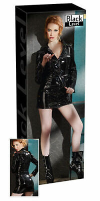 Black Level Lack Mantelkleid schwarz L Kleid Dress Erotik Bekleidung Wetlook