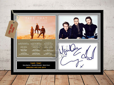 TAKE THAT SIGNED Photo Print GREATEST HITS LIVE 2019 Free Postage