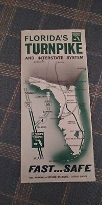 Map Of Florida Turnpike.Vintage Road Map 1967 Florida Turnpike Map 4 00 Picclick