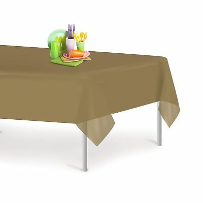 Gold 12 Pack Premium Disposable Plastic Tablecloth 54 Inch. x 108 Inch. Recta...