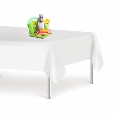 White 12 Pack Premium Disposable Plastic Tablecloth 54 Inch. x 108 Inch. Rect...