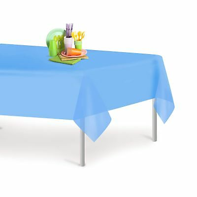Sky Blue 12 Pack Premium Disposable Plastic Tablecloth 54 Inch. x 108 Inch. R...