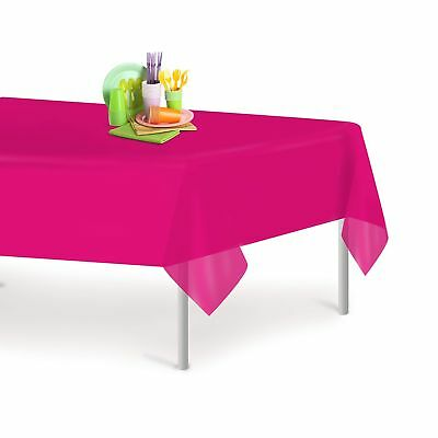 Magenta 12 Pack Premium Disposable Plastic Tablecloth 54 Inch. x 108 Inch. Re...