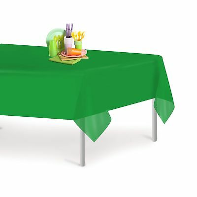 Green 12 Pack Premium Disposable Plastic Tablecloth 54 Inch. x 108 Inch. Rect...