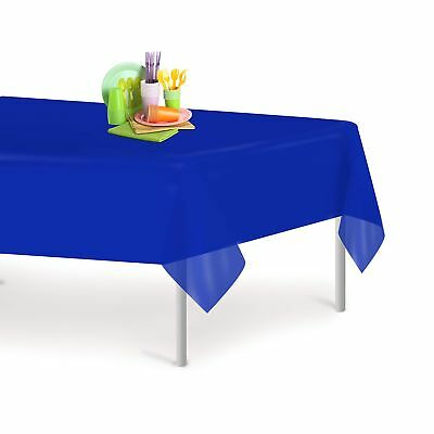 Blue 12 Pack Premium Disposable Plastic Tablecloth 54 Inch. x 108 Inch. Recta...