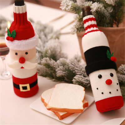 Bottle Cover Wine Santa Christmas Claus Bag Decor Table Dinner Gift Xmas D