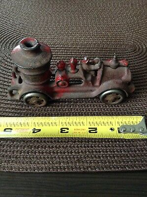 VINTAGE antique CAST IRON metal red FIRE TRUCK engine toy