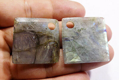 97 Carat Natural Labradorite Faceted Puffy Square Pendant Beads 29x29 mm 1 Pair
