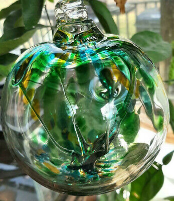 "Hanging Glass Ball 4"" Diameter ""Spring Tree"" Witch Ball (1) WB38"