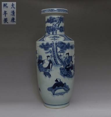 Rare Chinese Old Blue And White Porcelain Vase With Kangxi Marked 43Cm (508)