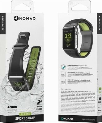 Nomad Silicone Sport Watch Strap for Apple Watch 42mm - Volt Green & Black - VG