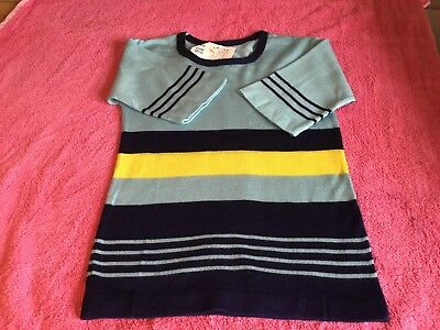 Vintage 60's Blue Stripe Children's Unisex Jumper Age 9 deadstock So Never Worn