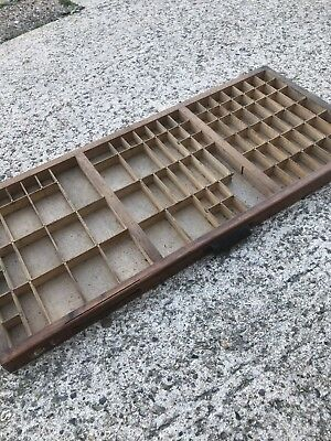 Vintage Print tray printers drawer wooden type case miniatures display W46