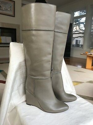 305937dc0e2 MSRP 685 Tory Burch Linnett Porcini Leather Wedge Tall Grey Boots SZ 7.5