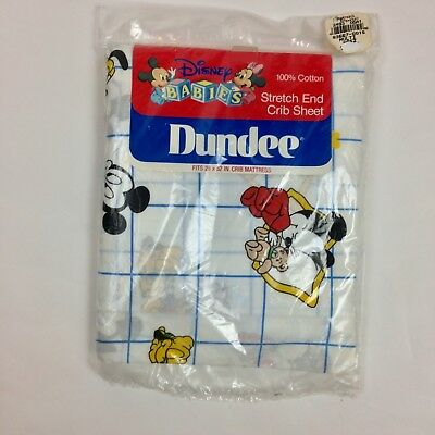 NEW Dundee Disney Babies  Crib Sheet Vintage Sealed Mickey Mouse Minnie 1984 I28