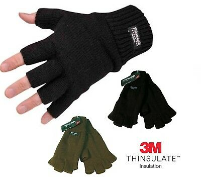 Mens Ladies THERMAL THINSULATE FINGERLESS GLOVES Knitted Wooly 3M Black Khaki
