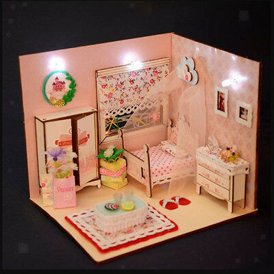 Diy Miniature Kits Doll House Wooden Baby Bedroom With Furniture