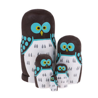 Cute Owl Russian Babushka Matryoshka Nesting Dolls 5 pcs Christmas Ornaments