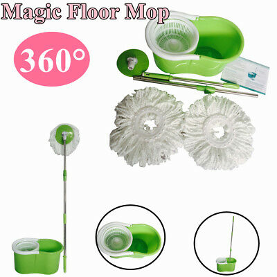 Hot 360° Easy Clean Floor Mop Bucket 2 Heads Microfiber Spin Rotating Head Green