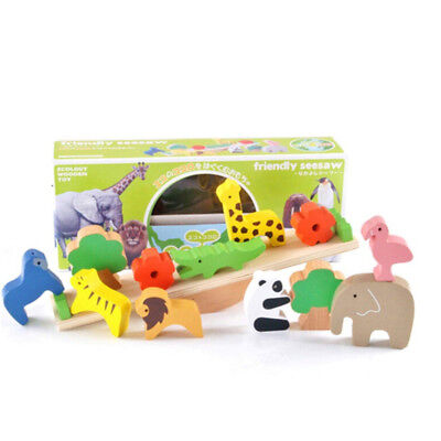 Wooden Animal Cartoon Building Block Stacking Height Kids Balance Puzzle Toy LD