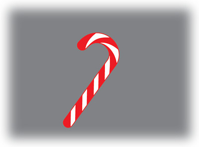 40 x Candy Cane Shape Stickers 24mm x 14mm Label Christmas Stickers Decals Xmas