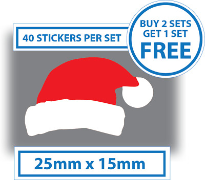 40 x Santa Hat Shape Stickers 25mm x 15mm Label Christmas Stickers Decals Xmas