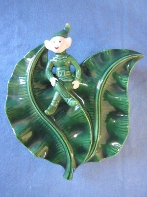 Vintage Green Leaf With Pixie Pottery Wall Vase/pocket