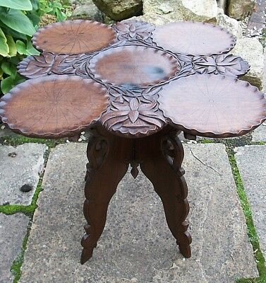 Superb Antique  Anglo/indian Folding Wooden Side Table