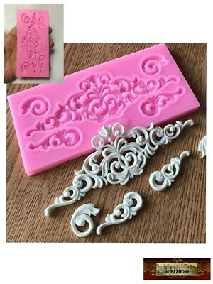 M01522 MOREZMORE Scroll Silicone Mold for Doll Furniture Carved Wood Effect DWS