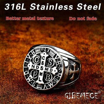 Fashion Vintage Ancient st Letter Cross ring stainless steel Punk rock jewelry