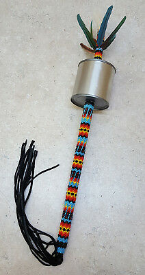 Full Beaded Feather Design Native American Indian Metal Can Gourd Dance Rattle