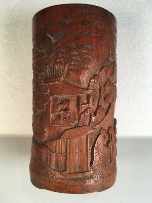 Chinese 19th Century Carved Bamboo Brush Pot