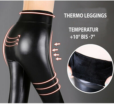 Matt Leder Optik Leggings Thermo Hose Damen High Waist Leggins S M L 34 36 38 40