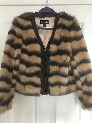 df75be0db9 Forever 21 Faux Fur Teddy Animal Print Tiger Leopard Jacket Faux Leather  Trim L