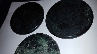 "3 Green black round stone marble cork backed coasters 4"" diameter vintage"