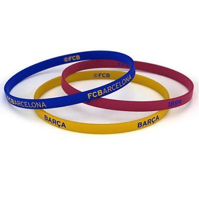 FC Barcelona Silicone Wristbands 3 Pack Fan Gift New Official Licensed Product