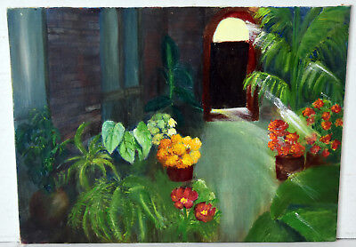 "12"" Oil Painting Canvas Old House Red Orange Flowers Pots Lucille Bodiford"