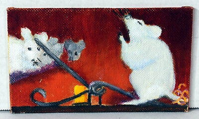 "5"" Miniature Oil Painting Canvas Funny White Mice Near Trap Lucille Bodiford"