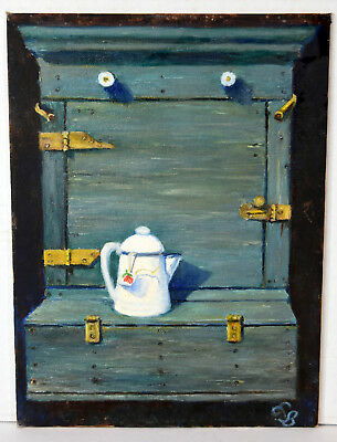 "12"" Vintage Oil Painting Still Life Teapot Lucille Bodiford American Artist"