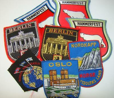 Vintage Lot 8 Norge Oslo Norway Berlin Acrtic Circle Patch RARE
