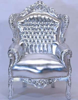 NEU großer BAROCKSESSEL SILBER-EDITION BAROCK BIG CHAIR LUXUS VIP-SESSEL THRON