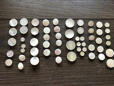 LOT of 55 Vintage Round Ivory White Shank Buttons Sets Sew Craft Repair Replace