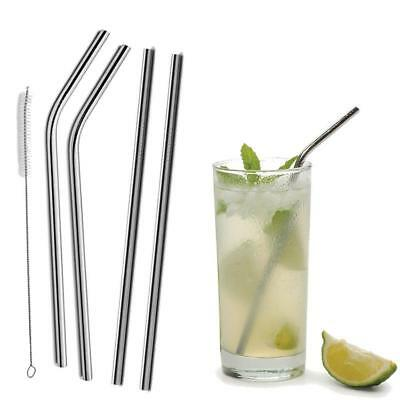 4X Stainless Steel Metal Drinking Straight Bent Straw Reusable + 1 Brush ECO Kit