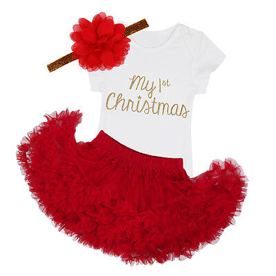 Newborn Girl My Baby 1st Christmas Tops Romper+Skirt Headband Clothes Outfits