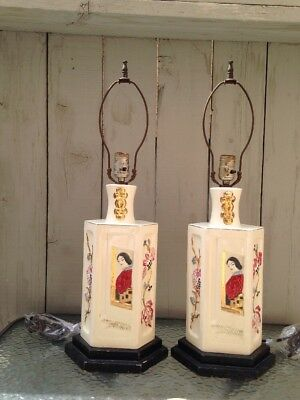 Antique or Vintage Pair Chinese Table Lamps Hand-Painted Porcelain
