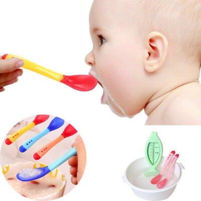 Baby Safety Silicone Temperature Sensing Spoon Feeding Flatware Baby Care -BM62