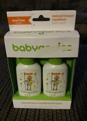 Babyganics Natural Insect Repellent Mineral-Based Twin Pack 4 Oz Total New